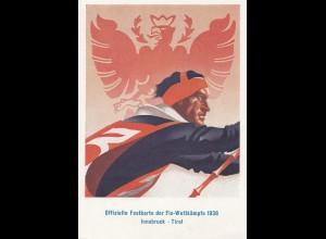 Österreich: 1936: Fis Wettkämpfe, Ansichtskarte mit Sonderstempel