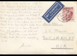 Österreich: 1936: AK Lech als Flugpost nach USA