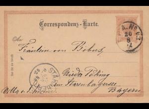 Österreich: 1892: Ganzsache nach Starnberg