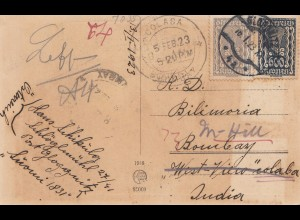 Österreich: 1923: AK Wien bei Nacht, Glognitz nach Indien