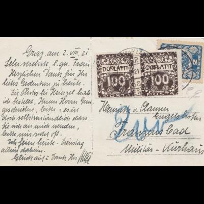 Österreich: 1921: AK Graz nach Franzensbad/Militär Kurhaus