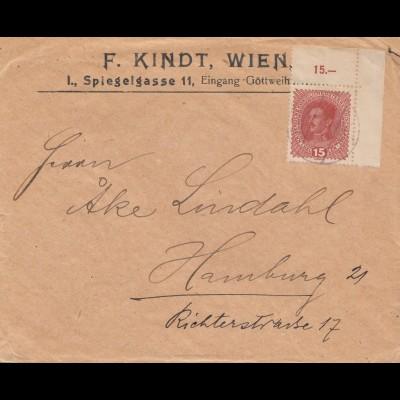 Österreich: Brief von Wien nach Hamburg - Eckrand