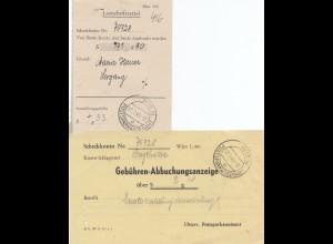 Österreich: 1949: Wien Postsparkassenamt - Lastschriftzettel, Abbuchungsanzeige