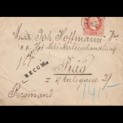 Österreich: 1881: Czachea nach Prag - Einschreiben