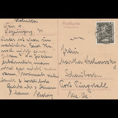 Österreich: 1947: Ganzsache Antwort Wien nach Schauboden