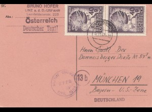 Österreich: 1947: Linz-Urfahr nach München - Zensur