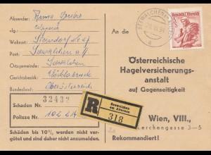 Österreich: 1958: Einschreiben Seewalchen nach Wien - Hagelschäden