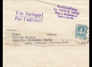 Österreich: 19xx: Streifband vom Verleger aus Wien nach Guben