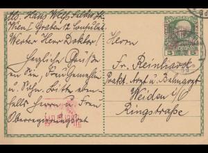 Österreich: 1917 von Wien nach Weiden - Ganzsache Überprüft