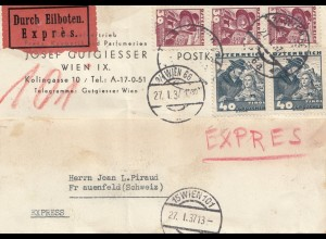 Österreich: 1937: Eilboten Wien nach Frauenfeld/Schweiz