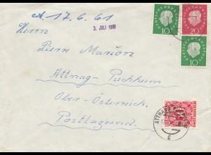 Österreich: 1961: Brief aus Goslar mit Nachporto Attnag-Puchheim