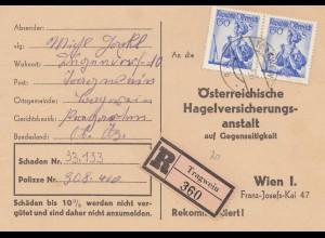 Österreich: 1956: Tragwein, Einschreibenkarte wegen Hagelschäden
