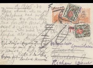 Österreich: 1930: AK Salzburg nach Zürich-Weiterleitung - Nachporto