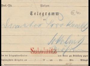 Österreich: 1881: Telegramm Sokolnitz