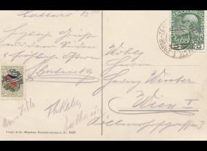Österreich: 1910: AK Trieste nach Wien: Vignette: Bund der Deutschen in Böhmen