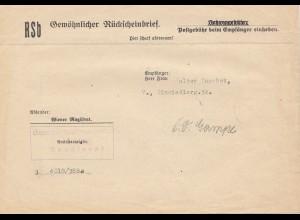 Österreich: 1938: Gewöhnlicher Rückscheinbrief Hietzing, Baudienst