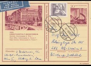 Österreich: 1965: Ganzsache Luftpost Wien nach Hamburg
