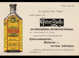 Österreich: 1907: Werbekarte Wien, Drucksache, Guber Quelle -Arsen Eisenwasser