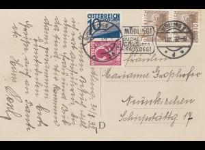 Österreich: 1932: AK Mödling nach Neunkirchen, Mischfrankatur