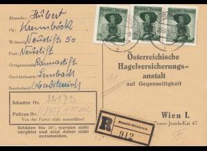 Österreich: 1956: Neustift, Einschreibenkarte wegen Hagelschäden