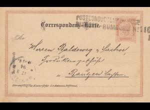 Österreich: 1894: Ganzsache Postconducteur Nixdorf Rumburg nach Bautzen