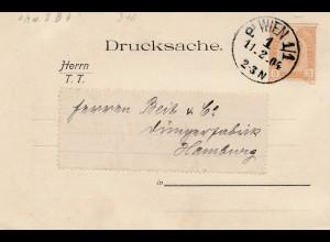 Österreich: 1904: Drucksachen Karte Wien nach Hamburg: Sicherheitsplomben