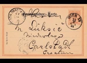 Österreich: 1891: Ganzsache Wien nach Carlstadt/Kroatien