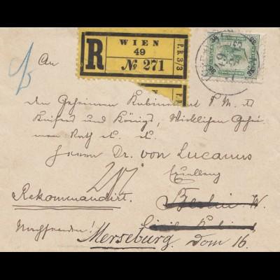 Österreich: 1903: Einschreiben Wien nach Merseburg