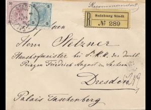 Österreich: 1901: Einschreiben Salzburg nach Dresden