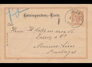 Österreich: 1895: Ganzsache Wien nach Buenos Aires/Portugal