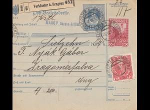 Österreich: 1913: Paketkarte Vorkloster nach Ungarn, Perfin