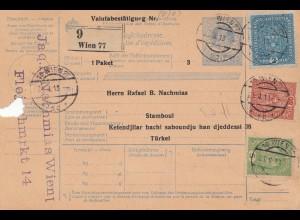 Österreich: 1913: Paketkarte Wien in die Türkei