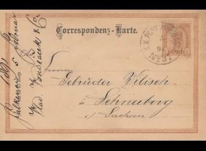 Österreich: 1891: Ganzsache KuK Post nach Schneeberg/Sachsen