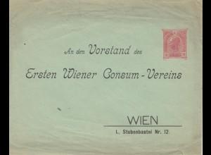 Österreich: Ganzsachenumschlag adressiert nach Wien - Consum Verein