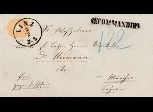 Österreich: 18xx: Einschreiben-Brief aus Linz nach München
