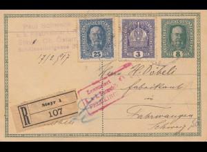 Österreich: 1917: Ganzsache Steyr in die Schweiz, Zensiert Feldkirch