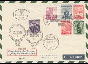 Österreich: 1958: Ballonpost Salzburg - Kasern, Festspiele