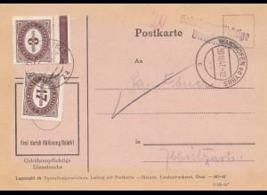 Österreich: 1947: Postkarte Wandhofen an der Ybbs, Dienstsache