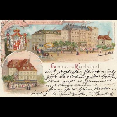 Österreich: 1899 Ansichtskarte Karlsbad nach Soest