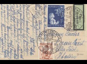 Österreich: 1954: Christkindl auf Postkarte nach Italien