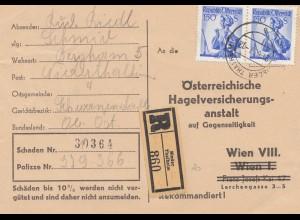 Österreich: 1957: Karte als Einschreiben von Nieder-Thalheim