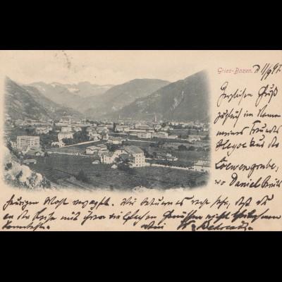 Österreich: 1897: Ansichtskarte Gries-Bozen nach Magdeburg