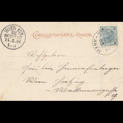 Österreich: 1901: Ansichtskarte: Mankthal nach Wien