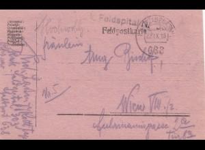 Österreich: 1918: Feldpostkarte Feldspital nach Wien