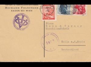 Österreich: 1949: Postkarte Baden/Wien nach Halle, Zensur