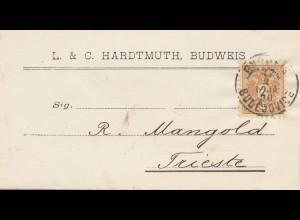 Österreich: 1890 Brief aus Budweis nach Trieste