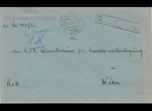 Österreich: 1917: Feldpost Einschreiben nach Wien