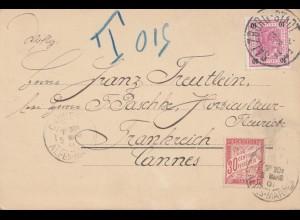 Österreich: 1901: Postkarte Salburg nach Frankreich - Taxe