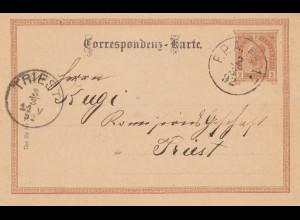 Österreich: 1892: Ganzsache von F.P.A.Nr 17 nach Trieste