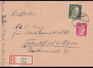 Österreich: 1943: Einschreiben Viellach nach Frankfurt/M